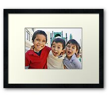 3 Boys Crazy Faces RO Framed Print