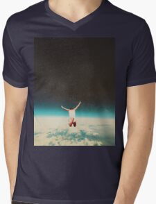 Falling with a hidden smile Mens V-Neck T-Shirt