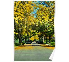 Neighborhood in Autumn Poster