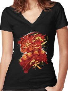 Gouki (RED) Women's Fitted V-Neck T-Shirt
