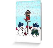 Cowboy Hats on Snowmen Greeting Card