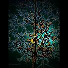 Autumn Tree on Turquoise Background by mimulux