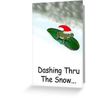 Dashing through the Snow...Sledding Frog Greeting Card