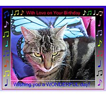 Funky Birthday Card with Music Notes Photographic Print