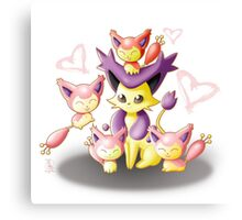 Pokemon: Mama Delcatty and her Baby Skitty Canvas Print