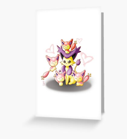 Pokemon: Mama Delcatty and her Baby Skitty Greeting Card