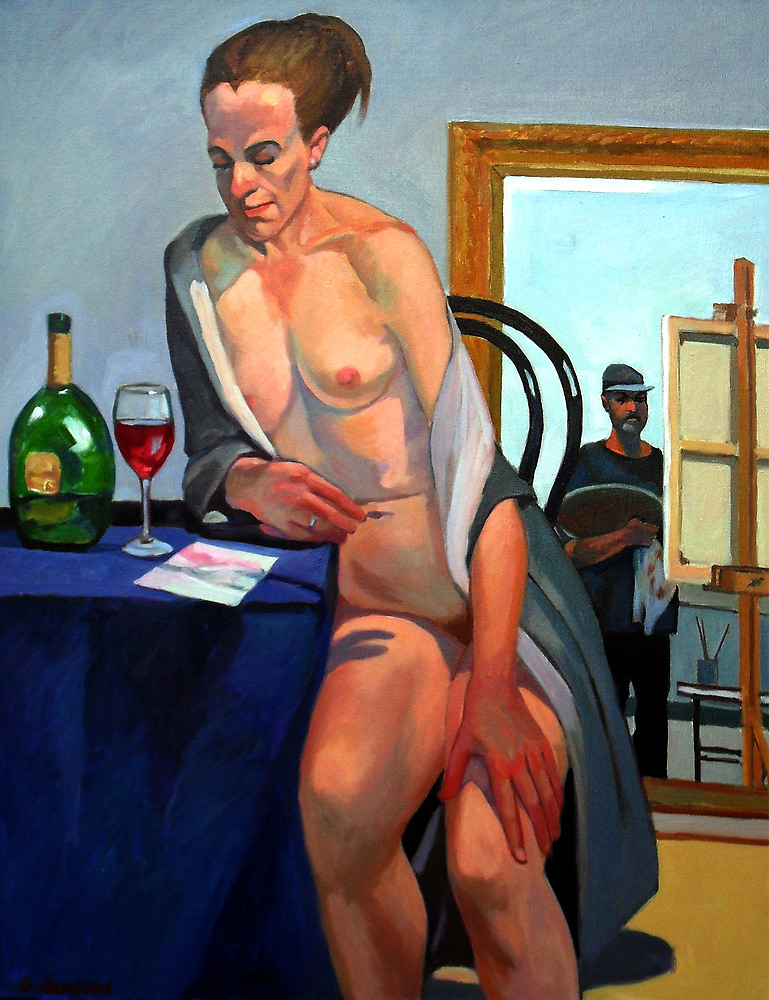 Nude model with artist by Guntis Jansons