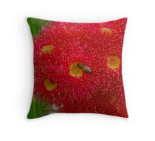 Eucalyptus Flowers with Bee Throw Pillow