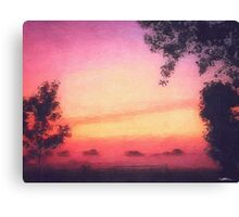 Misty sunrise Canvas Print