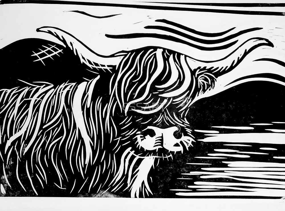 Quot Highland Cow Lino Print Black And White Quot By Cssart
