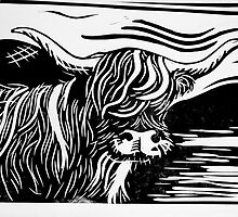 Highland Cow Lino Print Black and White by CSSART