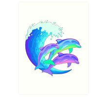 Psychedelic Dolphins Art Print