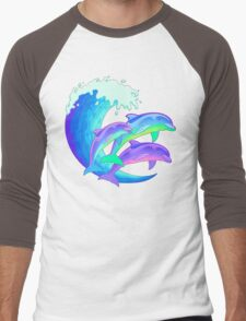 Psychedelic Dolphins Men's Baseball ¾ T-Shirt