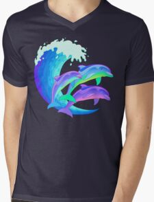 Psychedelic Dolphins Mens V-Neck T-Shirt