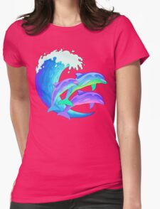 Psychedelic Dolphins Womens Fitted T-Shirt