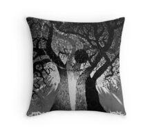Black White Tree Throw Pillow