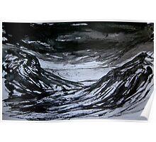 black sky..... ice fields below Poster