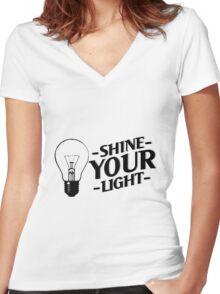 Shine Your Light Women's Fitted V-Neck T-Shirt