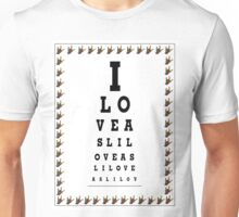I LOVE ASL EYE CHART Unisex T-Shirt