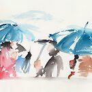 Umbrellas - Watercolor  by Pascale Baud