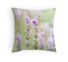 Minty Lavender - Dreamy Soft Lilac, Purple and Mint Green Flowers Throw Pillow