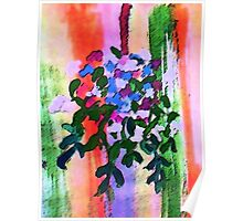 Hanging flowers, watercolor Poster