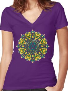 Pentacle Love Geometric Art Women's Fitted V-Neck T-Shirt