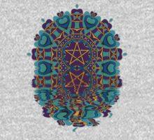Aqua Purple Pentagram Love Reflection Kids Tee