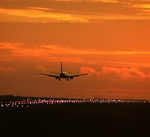 Luton Airport Evening Sunset Landing by merlinonline