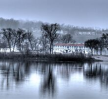 CITY ISLAND BATH HOUSE ON A FOGGY DAY by Diane Peresie