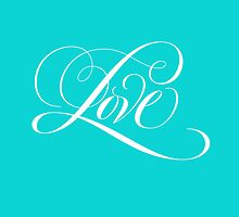 Elegant White Flourished 'Love' Valentine Calligraphy Script Hand Lettering on Tiffany Blue by 26-Characters