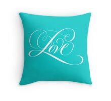 Elegant White Flourished 'Love' Valentine Calligraphy Script Hand Lettering on Tiffany Blue Throw Pillow