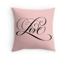Romantic Black Flourished 'Love' Valentine Calligraphy Script Hand Lettering on Pastel Pink Throw Pillow