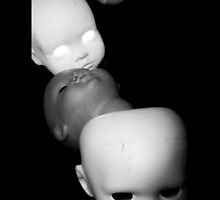 Creepy Multiple Dolls Heads iphone by Margaret Bryant