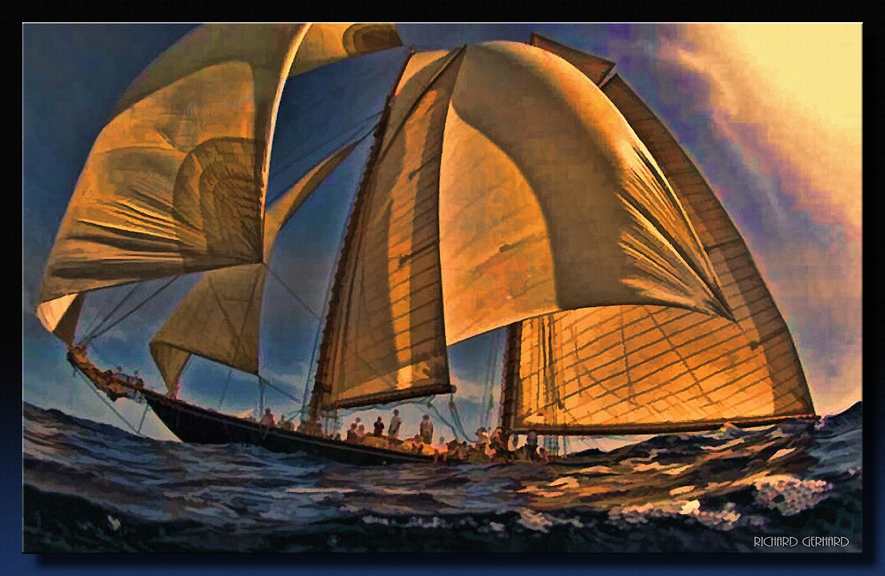 Sunset Sail by Richard  Gerhard