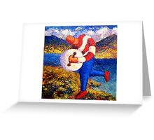 Bodhran player in landscape impasto Greeting Card