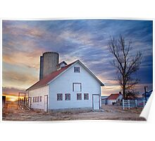 White Barn Sunrise Poster
