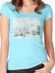 """Snow Fantasy """"Merry Christmas"""" ~ Greeting Card Plus More! Women's Fitted Scoop T-Shirt"""