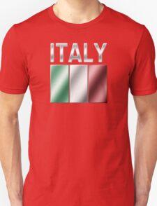 Italy - Italian Flag & Text - Metallic T-Shirt