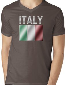 Italy - Italian Flag & Text - Metallic Mens V-Neck T-Shirt