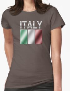 Italy - Italian Flag & Text - Metallic Womens Fitted T-Shirt