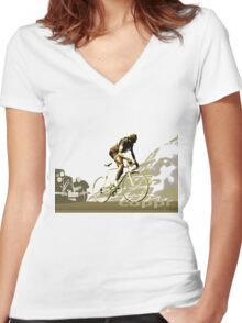 retro FAUSTO COPPI Tour de France cycling poster Women's Fitted V-Neck T-Shirt