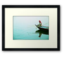 Fishing on the Ganges Framed Print