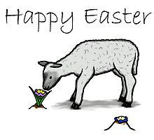 Happy Easter - cute flower & lamb by ReadiesCards