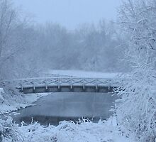 Ivy Street Bridge in the Snow by ingridthecrafty