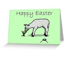 Happy Easter - cute flower & lamb (green) Greeting Card