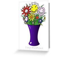 Happy Flower vase - congratulations Greeting Card