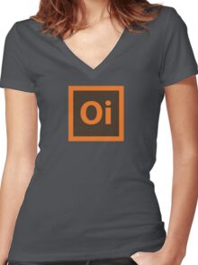 Oi. Women's Fitted V-Neck T-Shirt