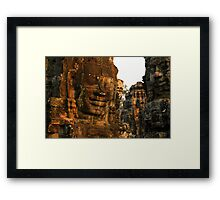 The Bayon temple, Angor complex, Cambodia. Framed Print