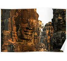 The Bayon temple, Angor complex, Cambodia. Poster